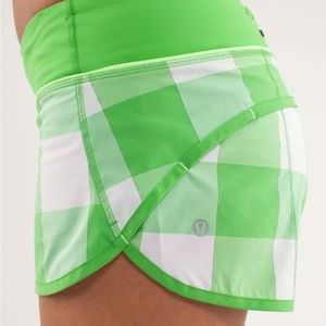 Lululemon Speed Shorts Sz 10 EUC Green Plaid